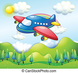 A colorful airplane above the hills - Illustration of a...