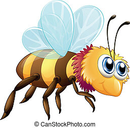 A colorful bee - Illustration of a colorful bee on a white...