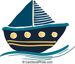 A colorful blue sailing boat vector or color illustration