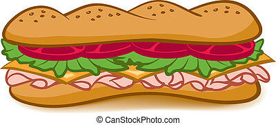 Sub Sandwich - A colorful cartoon Sub Sandwich with lettuce...