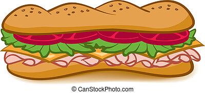 Sub Sandwich - A colorful cartoon Sub Sandwich with lettuce...