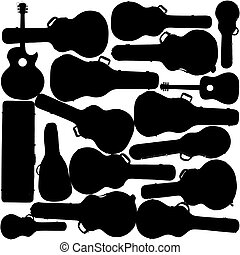 A colorful, creative music vector background of guitars and guitar cases