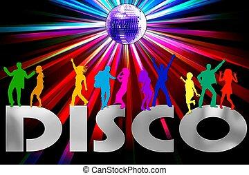 a colorful disco placard