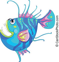 A colorful fish with a big mouth