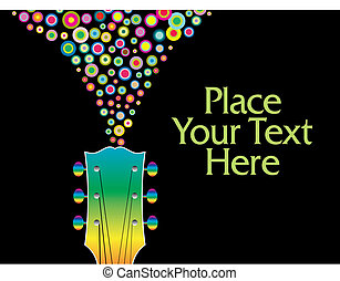 A colorful guitar headstock vector background with circles and copy-space