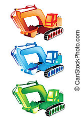 A Colorful Illustration Set of Excavator Icons - Heavy ...