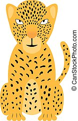 A colorful jaguar illustration. Vector cheetah isolated on white background, for kids app, game, book, sticker.
