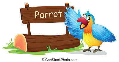 Illustration of a colorful parrot blinking his eye on a white background