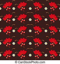 A colorful pattern in the traditional Russian style of Khokhloma.