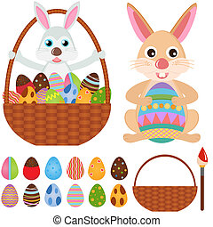 Rabbit Bunny with Easter Eggs