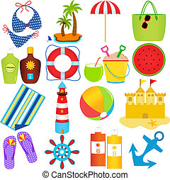 Beach in the Summer Theme - A colorful set of cute Vector...
