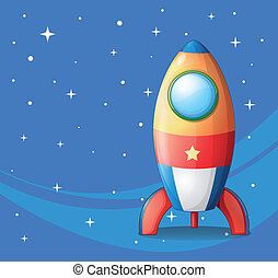 Illustration of a colorful spaceship