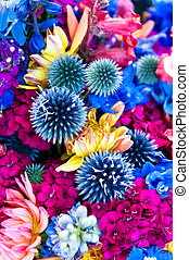 Globe Thistles - A colorful Spring bouquet dominated by blue...