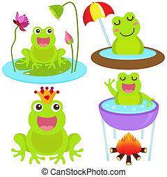 Frog in the pond - A colorful Theme of cute vector Icons :...