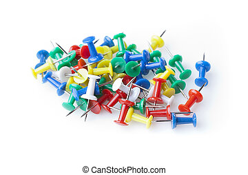 A colorful thumb tack against a white background