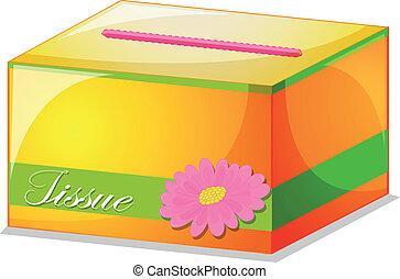 A colorful tissue box
