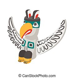 A colorful totem pole icon, cartoon style