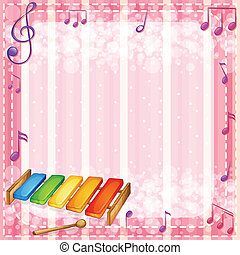 A colorful xylophone with musical notes