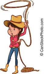 A coloured drawing of a cowgirl