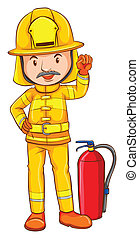 A coloured drawing of a fireman
