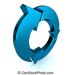 Blue Process Arrow - A Colourful 3d Rendered Blue Process...