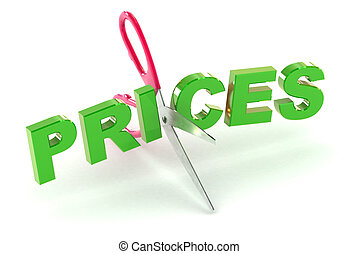 Cutting Prices - A Colourful 3d Rendered Cutting Prices...