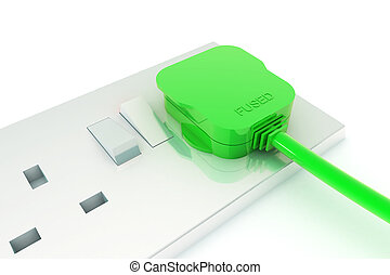 Green Energy - A Colourful 3d Rendered Green Energy Plug ...