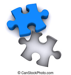Jigsaw Teamwork - A Colourful 3d Rendered Jigsaw Teamwork...