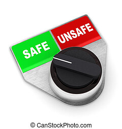 Safe Vs Unsafe Concept Switch - A Colourful 3d Rendered Safe...