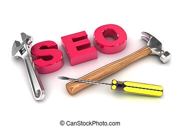 SEO Tools - A Colourful 3d Rendered SEO Tools Concept...