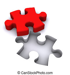 Teamwork Jigsaw - A Colourful 3d Rendered Teamwork Jigsaw...