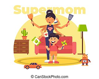 A colourful illustration of a supermom who has superpowers -...