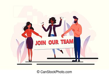 A colourful illustration that calls to join the team