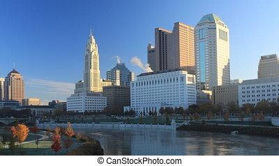 Columbus, Ohio timelapse scene of the city center - A...