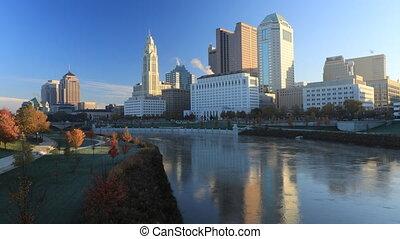 Columbus, Ohio timelapse scene of the skyline - A Columbus,...