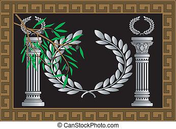 a, colunas gregas, e, grinalda