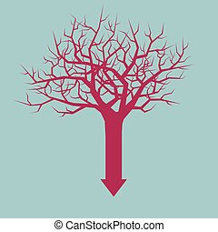 A combination of arrows and tree. Isolated on blue background.