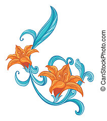 A combination of orange and blue border