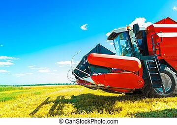 a combine on field