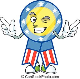 A comical face USA medal mascot design with Wink eye