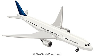 A Commercial Airplane on White Background