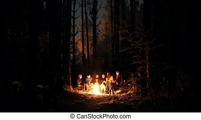 A company of young people in the winter forest sitting by the fire