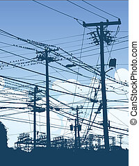 A complex maze of telephone poles and wires