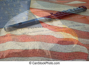 A composite of two photos taken by the author - bald eagle, American flag, Declaration of Independence and Constitution with fife combined into one photo.
