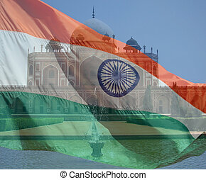 A composite of two photos taken by the author. Humayun's Tomb in New Delhi India and the flag of India.