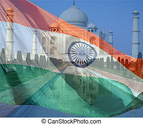A composite of two photos taken by the author. The Taj Mahal in Agra India looking down the reflecting pool and the flag of India.