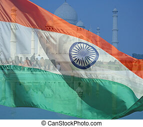 A composite of two photos taken by the author. The Taj Mahal in Agra India and the flag of India.