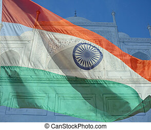 A composite of two photos taken by the author. A closeup of the top of the Taj Mahal in Agra India and the flag of India.