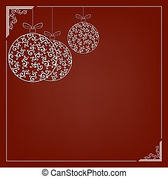 A composition of white delicate Christmas balls in retro style with a frame