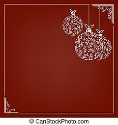 A composition of white elegant Christmas balls with a pattern and a white graceful frame.